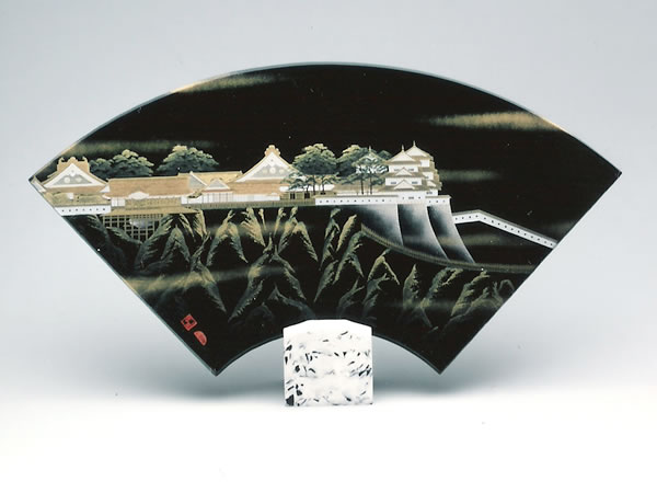 Tamamushi Lacquer Ware Sector-shaped Art Panel - Japanese Castle